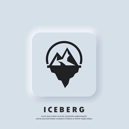 Iceberg geometric logo. Iceberg icon. Vector. UI icon. Snow mountain in the ocean. Abstract mountain ice peak. Neumorphic UI UX white user interface web button. Neumorphism style.