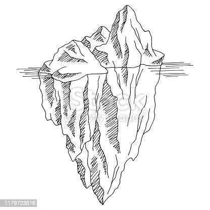 Iceberg graphic black white isolated sketch illustration vector