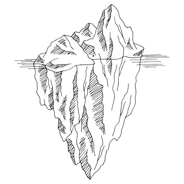 ilustrações de stock, clip art, desenhos animados e ícones de iceberg graphic black white isolated sketch illustration vector - iceberg