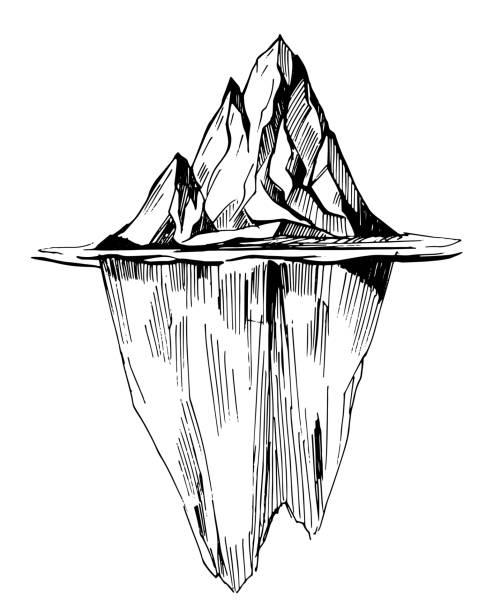 eisberg. hand gezeichnete illustration vektor umgewandelt - landschaftstattoo stock-grafiken, -clipart, -cartoons und -symbole