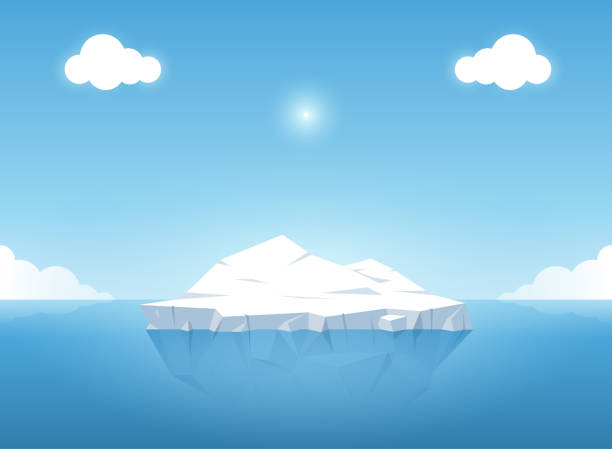 iceberg in blue ocean on the summertime. iceberg with above and underwater view in the ocean. vector illustration - antarctica travel stock illustrations