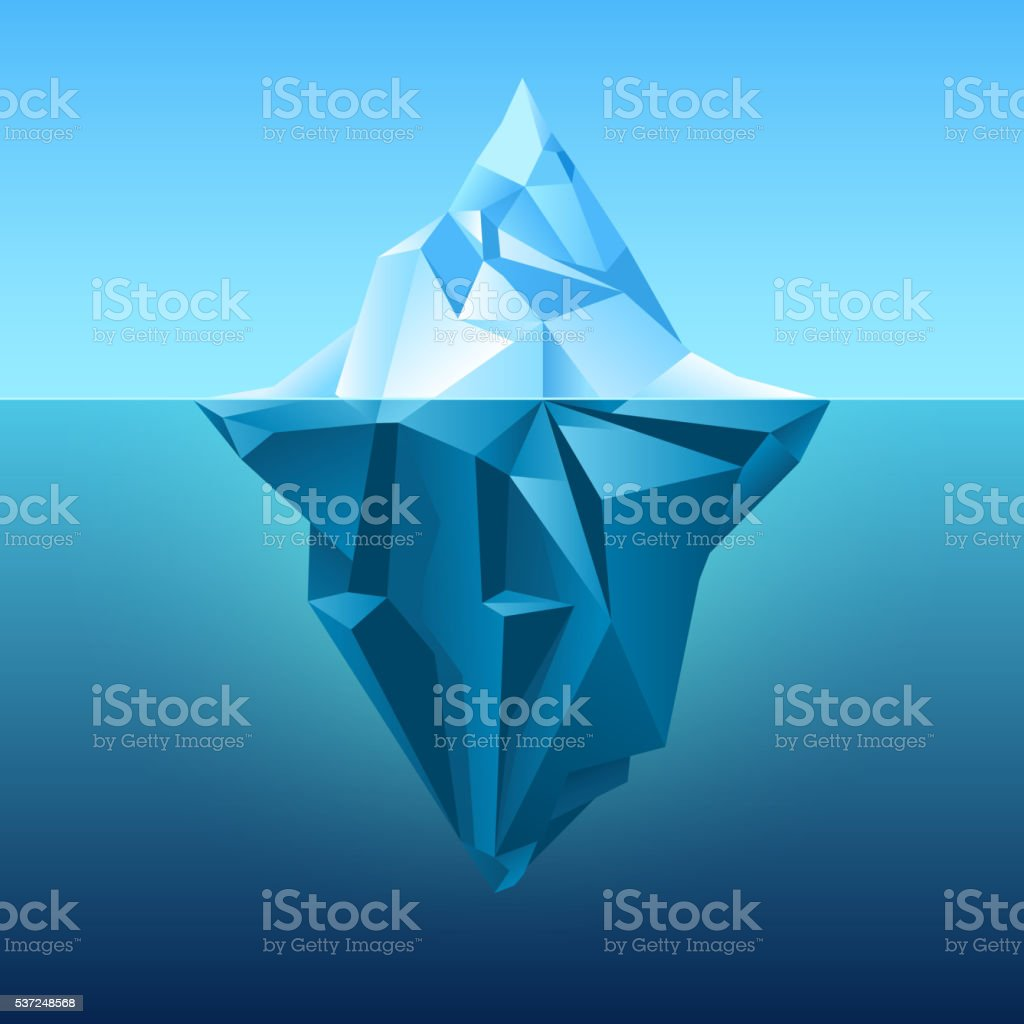 Iceberg in blue ocean vector background vector art illustration