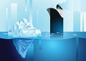 Iceberg in ocean and icebreaker. Art deco vector illustration.