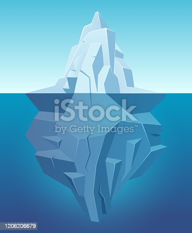 Iceberg in ocean. Big ice white rock in water polar landscape in cartoon style vector outdoor nature. Iceberg underwater, undersea and underside arctic illustration
