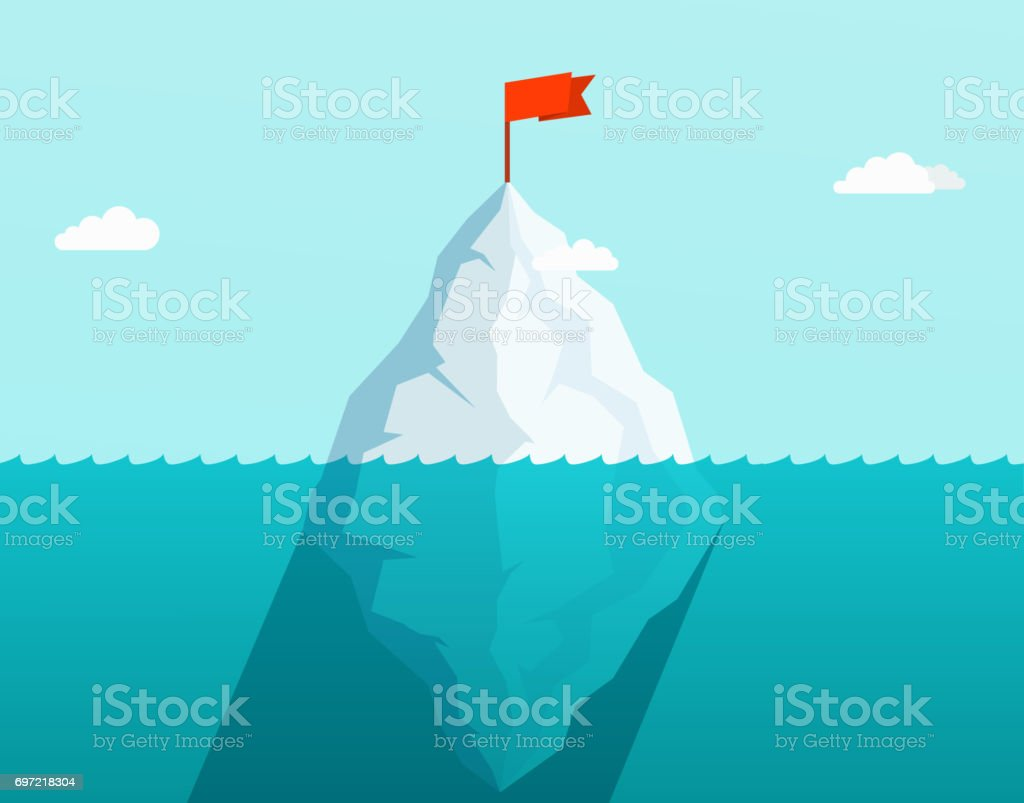 Iceberg in ocean floating in sea waves with red flag on top. Business concept. vector art illustration