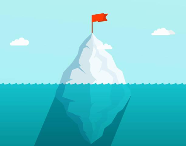 ilustrações de stock, clip art, desenhos animados e ícones de iceberg in ocean floating in sea waves with red flag on top. business concept. - iceberg