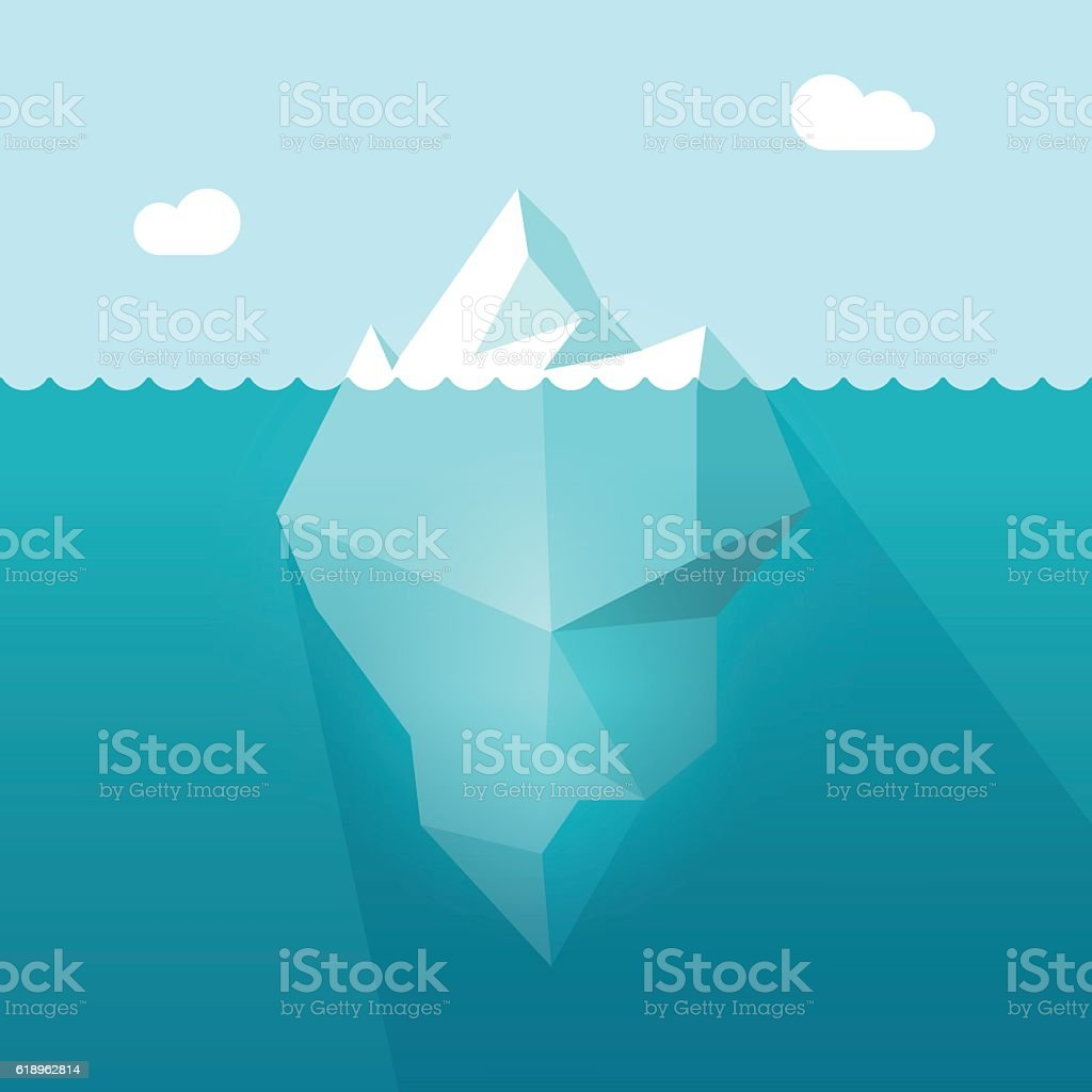 Iceberg in ocean water vector illustration, berg floating underwater part