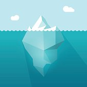 Iceberg in ocean water vector illustration, berg floating underwater part