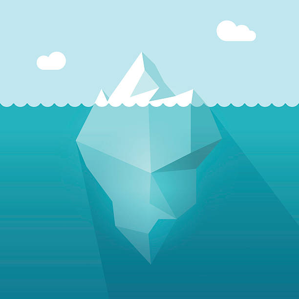 ilustrações de stock, clip art, desenhos animados e ícones de iceberg in ocean water vector illustration, berg floating underwater part - iceberg
