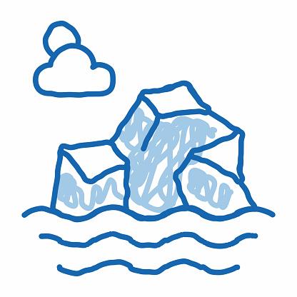 Iceberg in Sea doodle icon hand drawn illustration