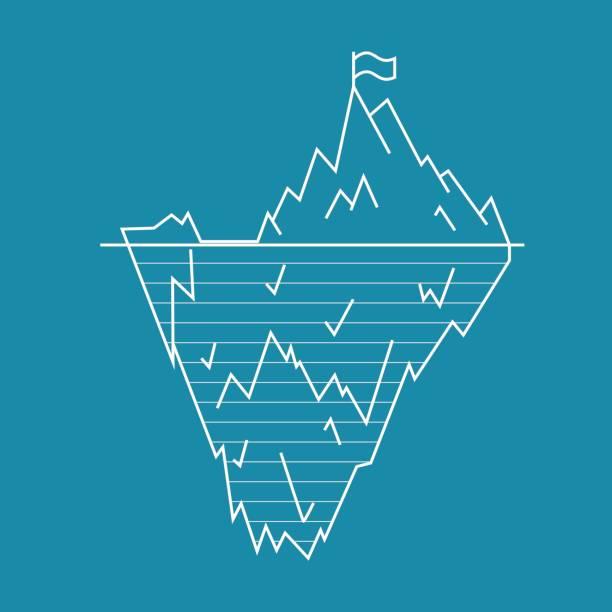 iceberg line style. vector - antarctica travel stock illustrations, clip art, cartoons, & icons