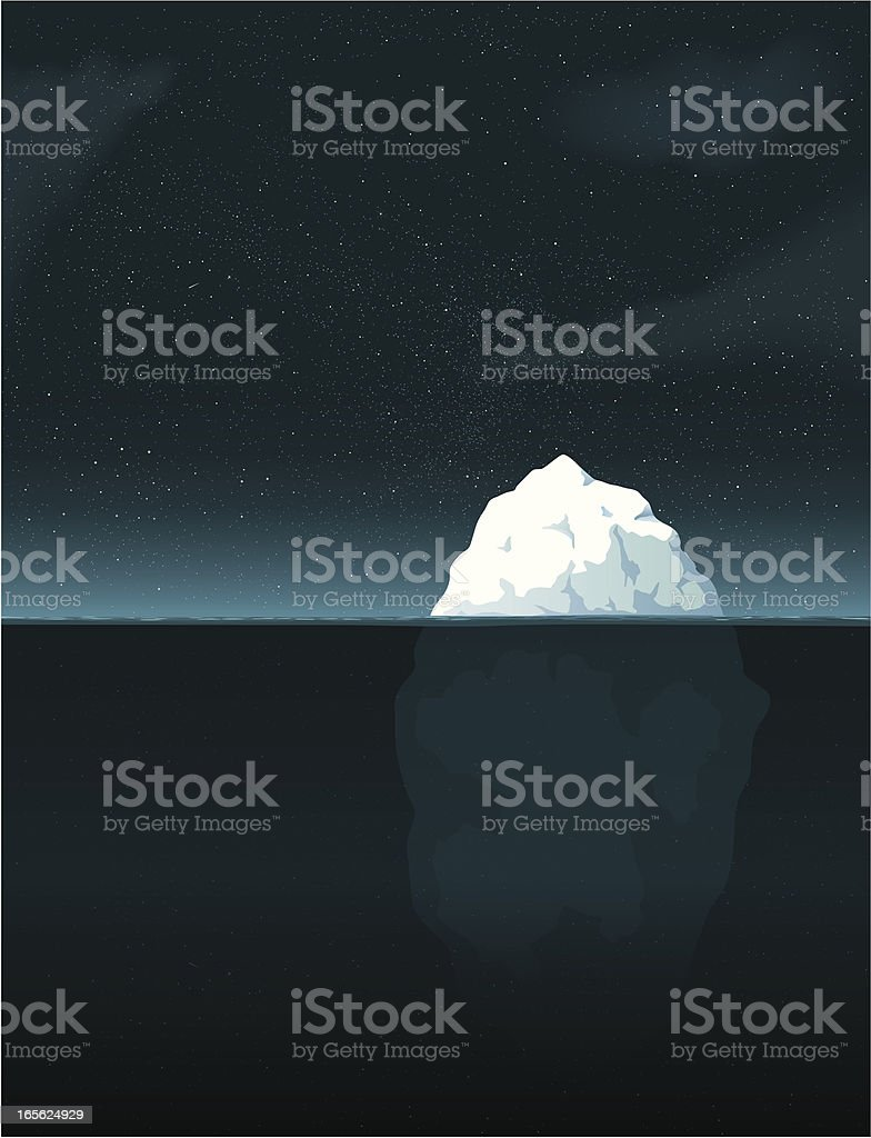 Iceberg night vector art illustration