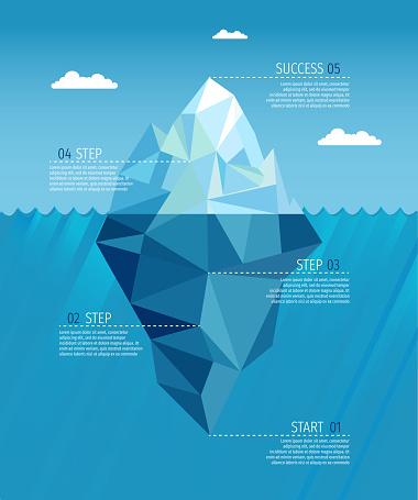 Iceberg realistic under water ocean infographic template vector