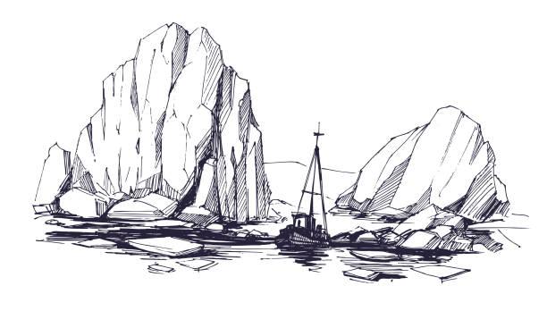 iceberg sketch. arctic landscape with ship. vector illustration. - antarctica travel stock illustrations, clip art, cartoons, & icons