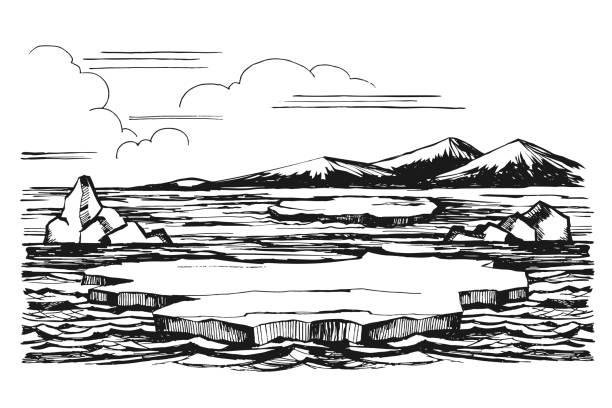Eisberg Skizze handgezeichnete cartoon – Vektorgrafik