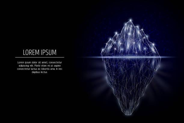 ilustrações de stock, clip art, desenhos animados e ícones de iceberg vector geometric polygonal art style design - iceberg