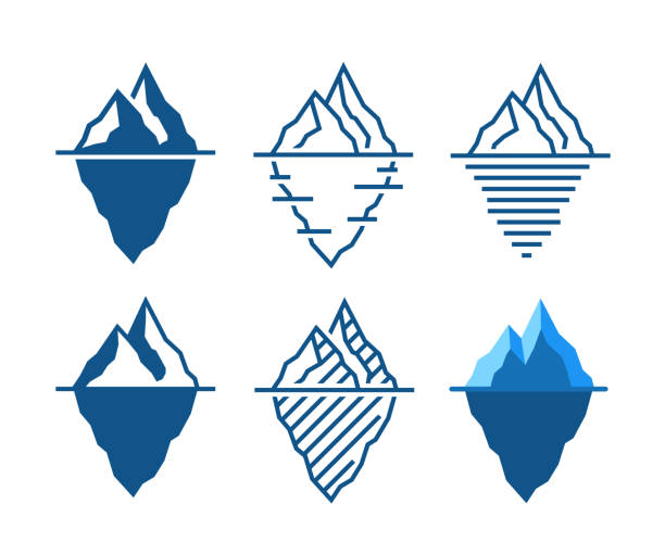 Iceberg vector icons in diffrent styles Iceberg vector icons in diffrent styles ice stock illustrations