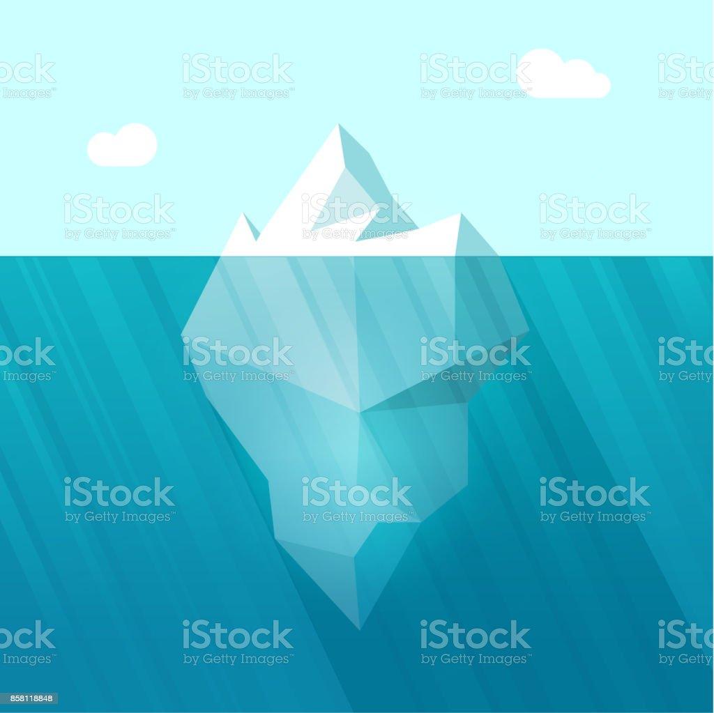 Iceberg vector illustration, big berg in ocean water floating