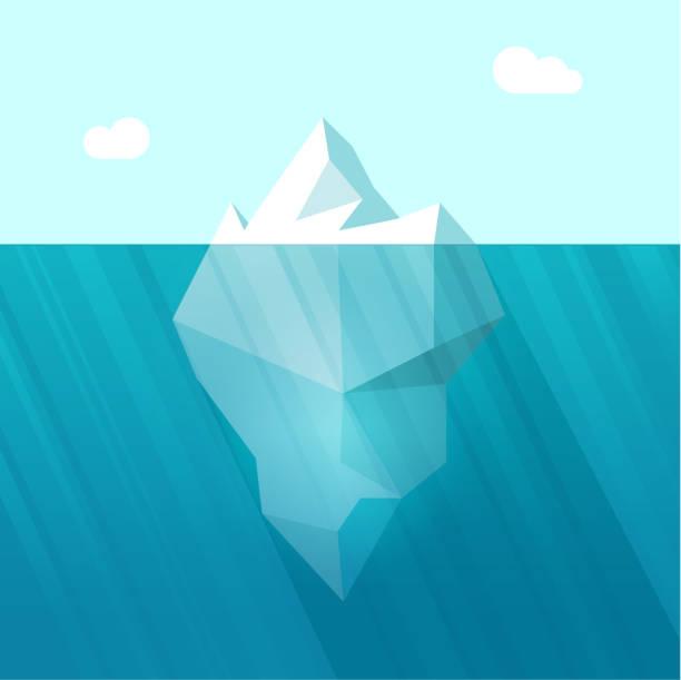 ilustrações de stock, clip art, desenhos animados e ícones de iceberg vector illustration, big berg in ocean water floating - iceberg