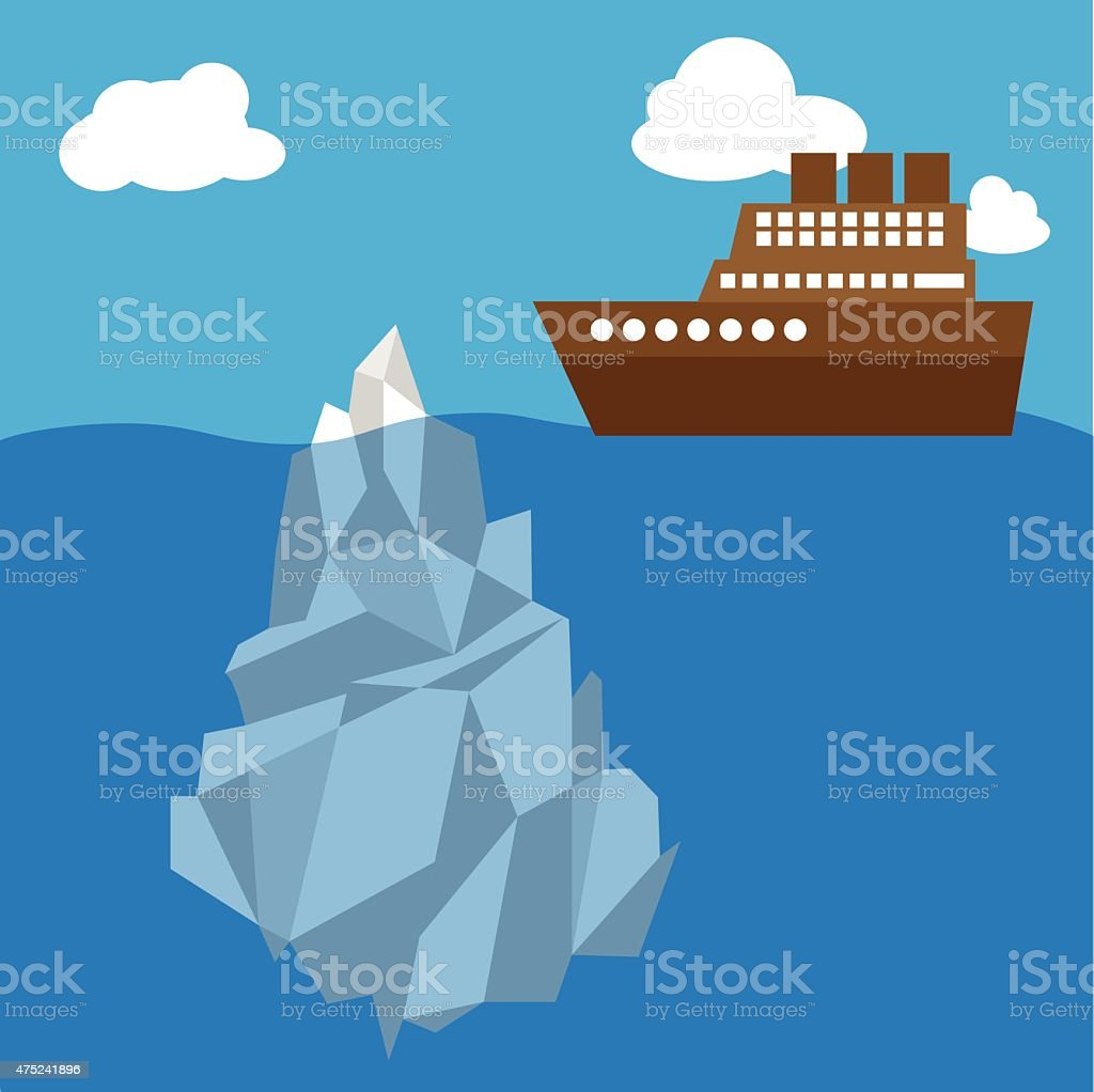 Iceberge in clear weather ship vector art illustration