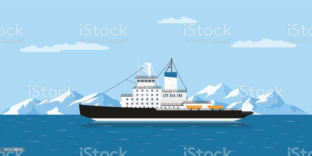icebergs y nave - ilustración de arte vectorial