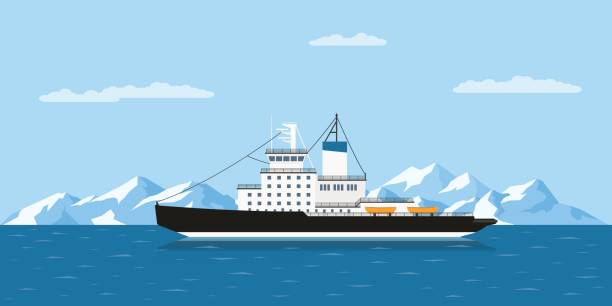 icebergs and ship - antarctica travel stock illustrations