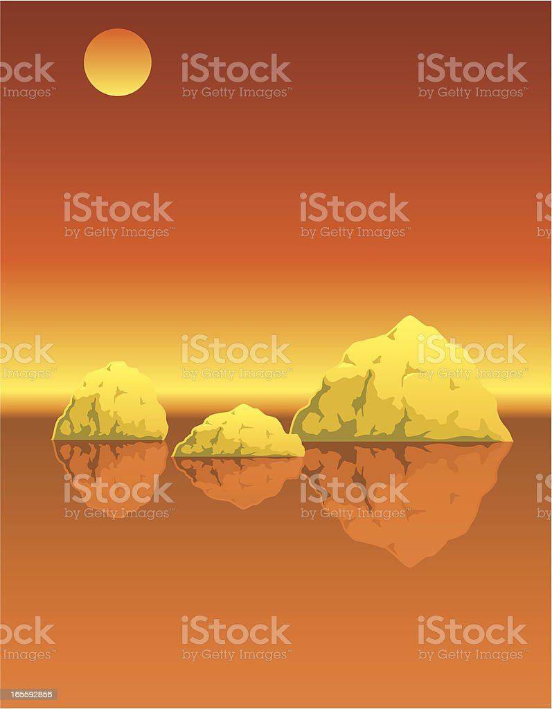 Icebergs orange vector art illustration