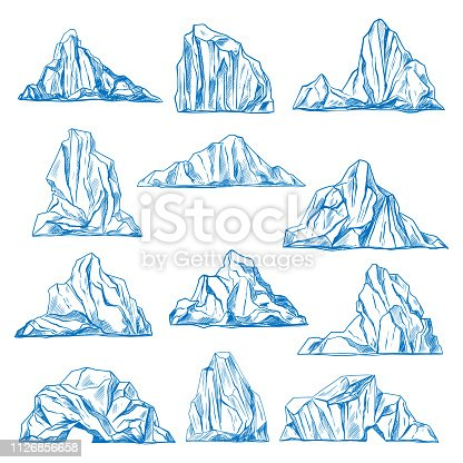 Set of isolated icebergs sketch or hand drawn mountains. Drifting frozen water or rocks. Antarctic ice peaks at ocean. Cold icicle. North and south pole, nature and crystal, cold and winter theme