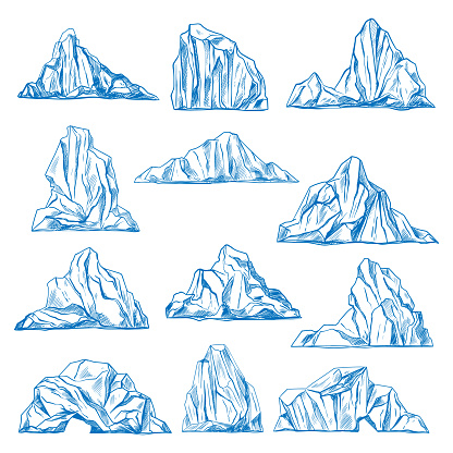 Icebergs sketch or hand drawn mountains.