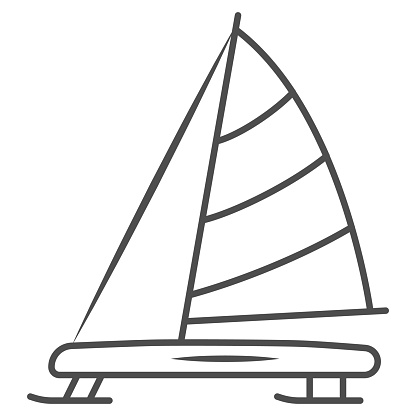 Iceboat thin line icon, World snow day concept, ice breaker ship sign on white background, ice yacht icon in outline style for mobile concept and web design. Vector graphics.