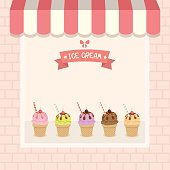 Ice-cream cafe shop showcase decorated with awning and brick wall in pink and  pastel background colors.Illustration vector.