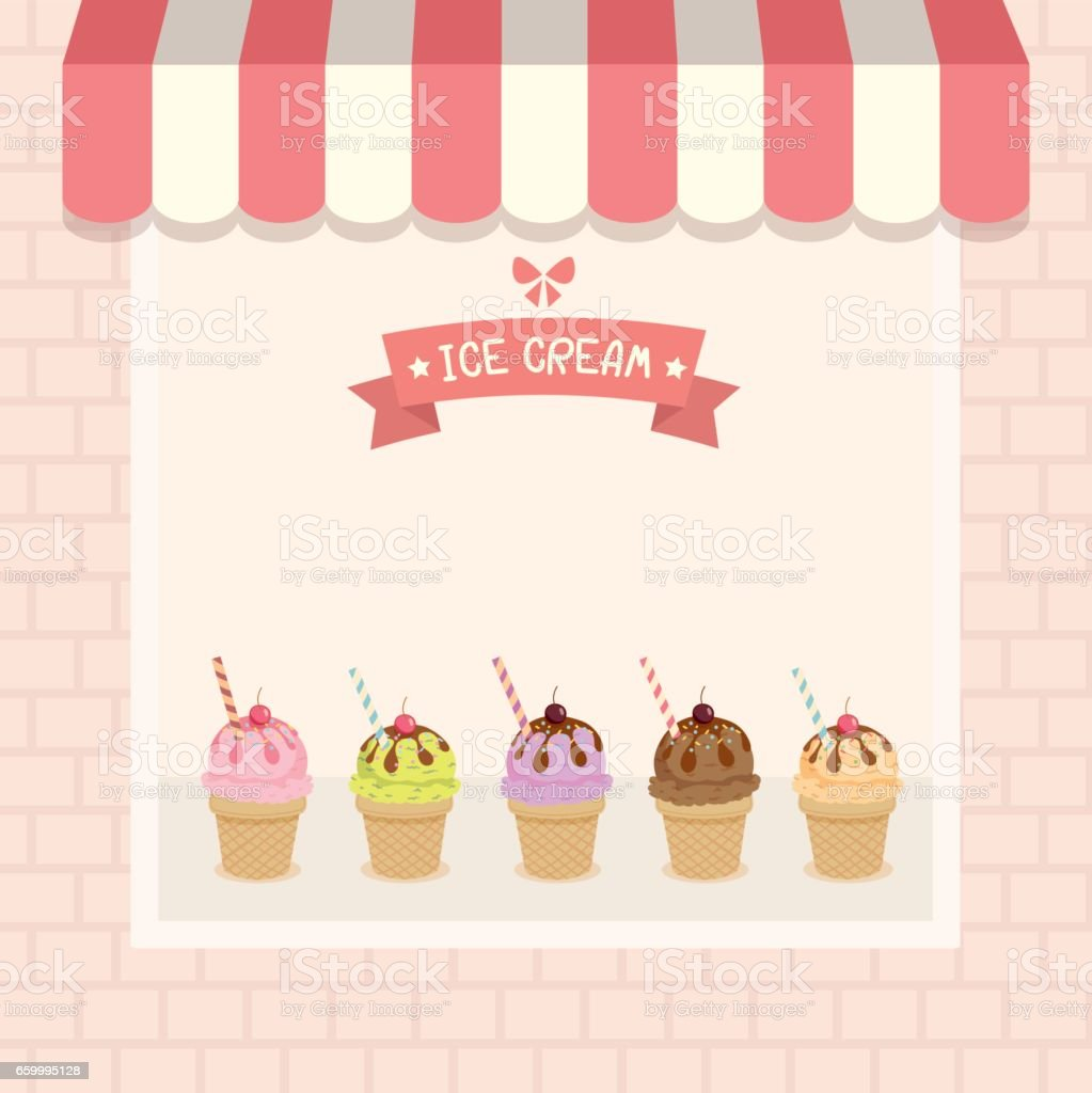 ice-cream cafe vector art illustration