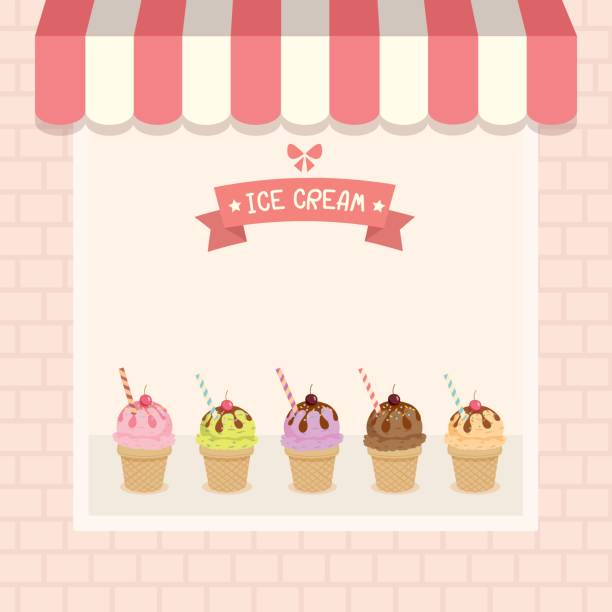 eis café - gastronomiebetrieb stock-grafiken, -clipart, -cartoons und -symbole