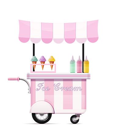 Ice-cream cart. Fast food snack bar. Mobile shop. Vector illustration.