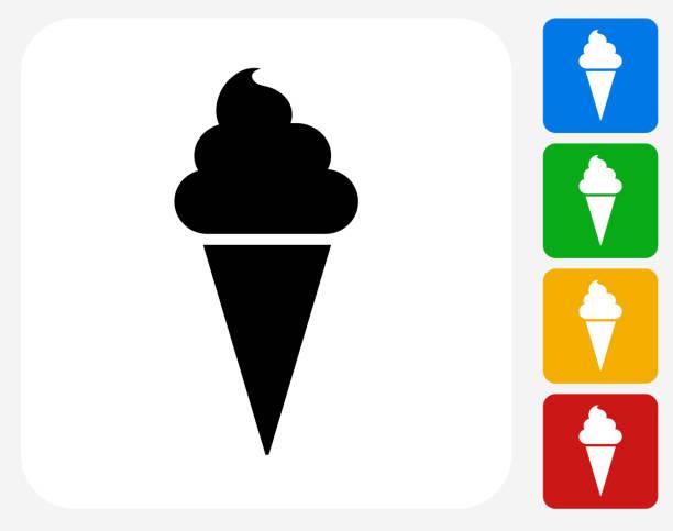 ilustraciones, imágenes clip art, dibujos animados e iconos de stock de helado, chaval de iconos planos de diseño gráfico - ice cream cone