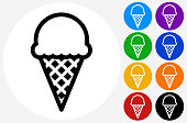 Ice-cream cone.The icon is black and is placed on a round blue vector button. The button is flat white color and the background is light. The composition is simple and elegant. The vector icon is the most prominent part if this illustration. There are eight alternate button variations on the right side of the image. The alternate colors are orange, red, purple, yellow, black, green, blue and indigo.