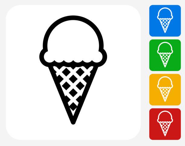 ilustraciones, imágenes clip art, dibujos animados e iconos de stock de helado de iconos planos de diseño gráfico - ice cream cone