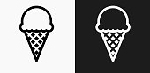 istock Ice-cream Icon on Black and White Vector Backgrounds 690761198