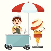 icecream man with push cart