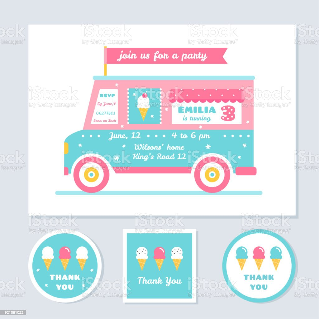 Icecream Truck Vector Kids Party Invitation And Thank You Cards ...