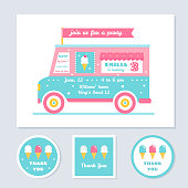 Icecream Truck Vector Kids Party Invitation and Thank You Cards.