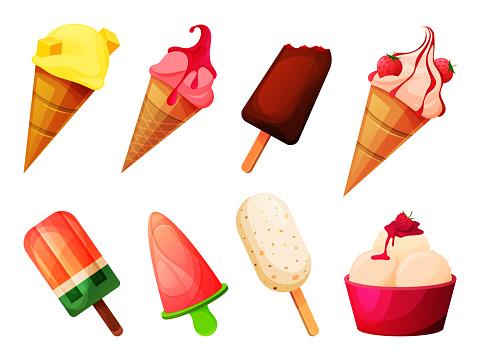 Icecream vector set, frozen ice, cold dessert