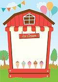 Illustration vector of dairy fresh Ice cream booth design with wood and awning decorated on  natural farm in party background for menu template