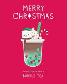 Iced choco mint Bubble Tea,Christmas style, Snow man, cute illustration