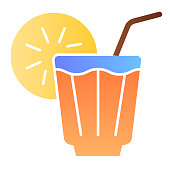 Iced drink flat icon. Lemonade color icons in trendy flat style. Cold tea gradient style design, designed for web and app. Eps 10