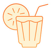 Iced drink flat icon. Lemonade orange icons in trendy flat style. Cold tea gradient style design, designed for web and app. Eps 10