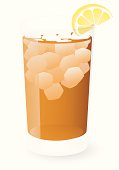 Vector illustration of a glass of iced tea with a wedge of lemon, against a white background.  Illustration uses several linear gradients, as well as one radial gradient for the shadow.  Glass and lemon are on a different layer than and are easily separated from the background and shadow.  Both CS .ai and AI8-compatible .eps formats are included, along with a high-res .jpg.