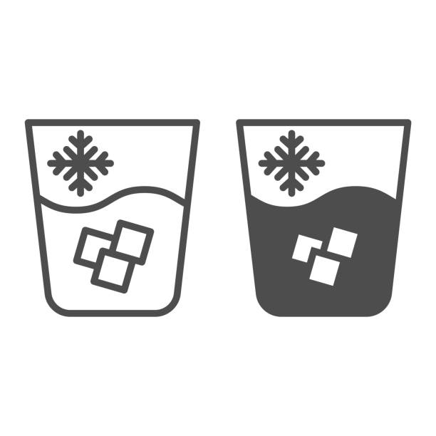 Iced water line and glyph icon. Glass of cold drink vector illustration isolated on white. Water with ice outline style design, designed for web and app. Eps 10. Iced water line and glyph icon. Glass of cold drink vector illustration isolated on white. Water with ice outline style design, designed for web and app. Eps 10 alcohol drink silhouettes stock illustrations
