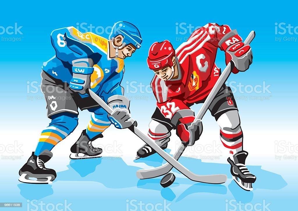Cara de Hockey sobre hielo-Off - arte vectorial de Adulto libre de derechos