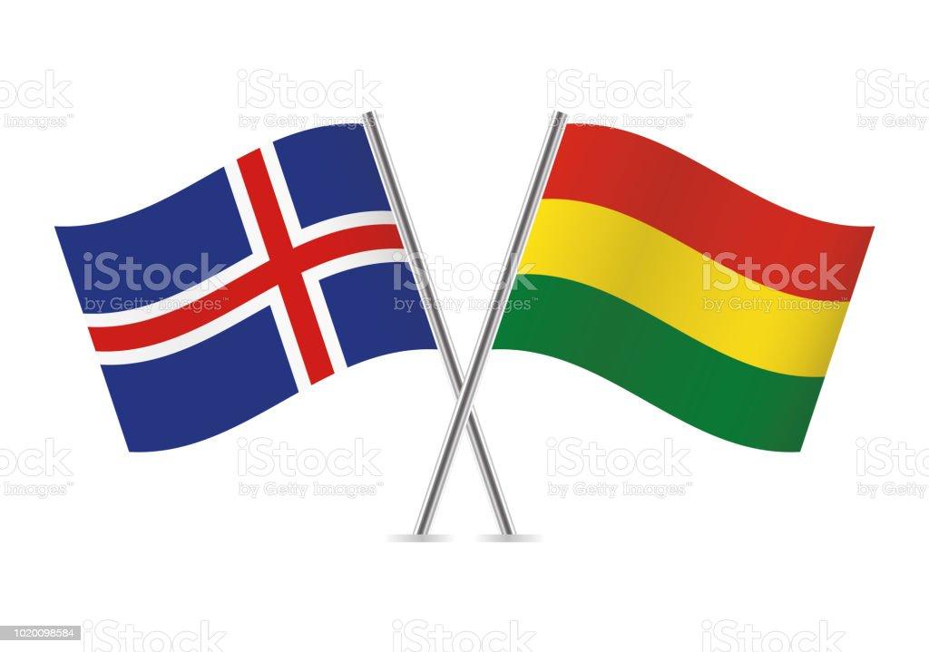 Banderas de Islandia y Bolivia. Ilustración de vector. - ilustración de arte vectorial